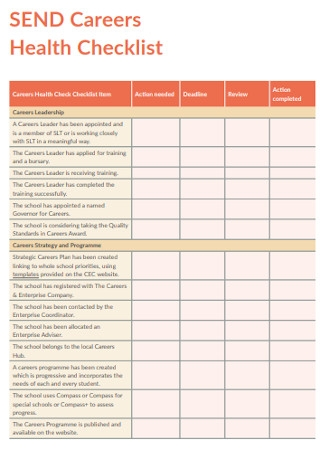 Sample Careers Health Checklist