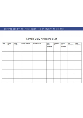 Sample Daily Action Plan List
