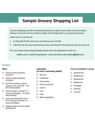 Sample Grocery Shopping List