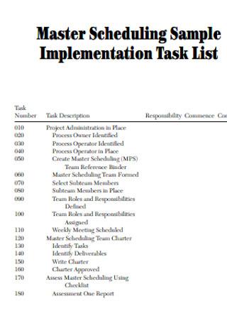 Sample Implementation Task List