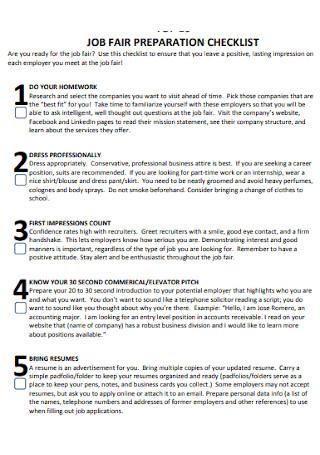 Sample Job Fair Preparation Checklist