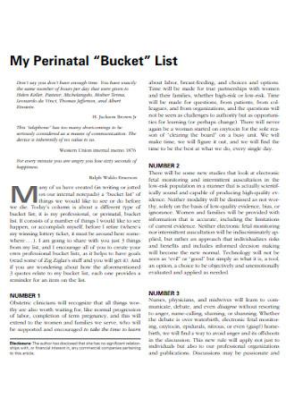 Sample Perinatal Bucket List
