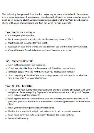 Sample Photography Checklist