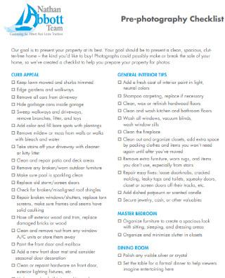 Sample Pre photography Checklist