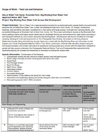 Sample Work Task List