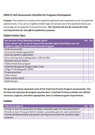 Self Assessment Checklist for Program Participation