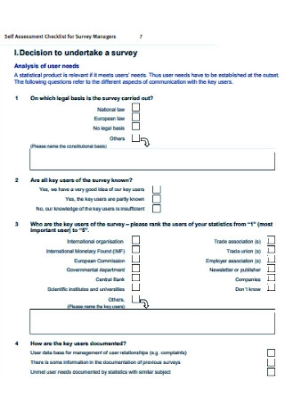 Self Assessment Checklist for Survey Managers
