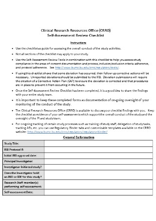 Self Assessment Review Checklist