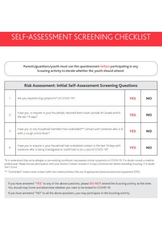 Self Assessment Screening Checklist