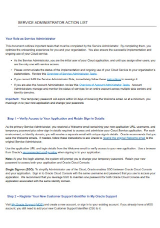 Serice Adminstrator Action List