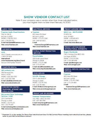 Show Vendor Contact List