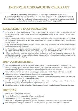 Simple Employee Onboarding Checklist