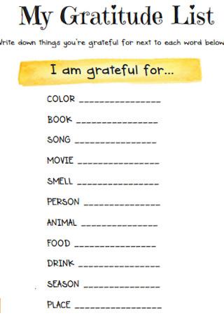 Simple Gratitude List Template