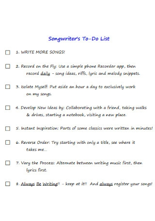 Songwriters To Do List
