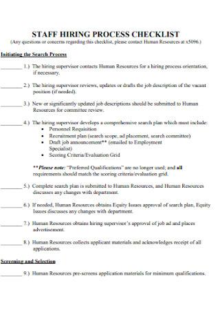 Staff Hiring Process Checklist