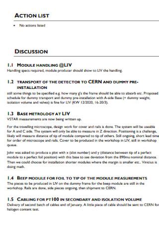 Standard Action List Template