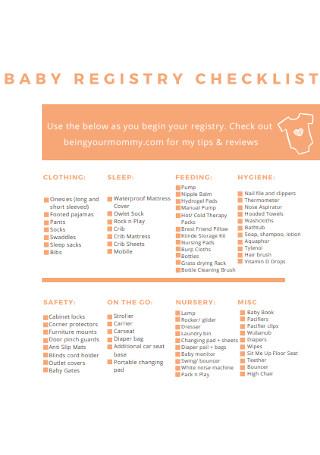 Standard Baby Registry Checklist