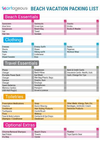 Standard Beach Packing List