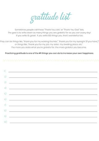 Standard Gratitude List Template
