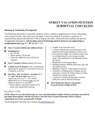 Street Vacation Petition Checklist