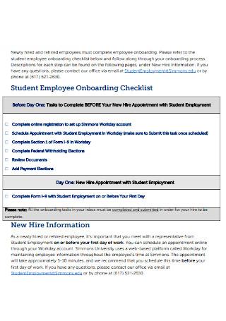 Student Employee Onboarding Checklist