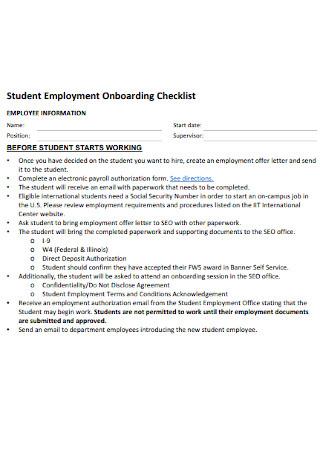 Student Employment Onboarding Checklist