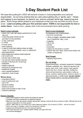 Student Pack List