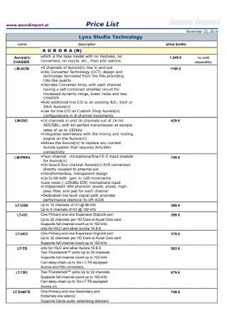 Studio Technology Price List