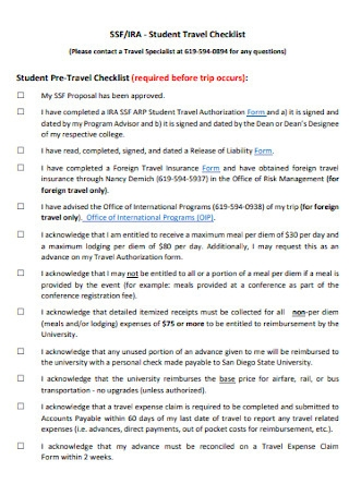 Studnet Travel Checklist Template