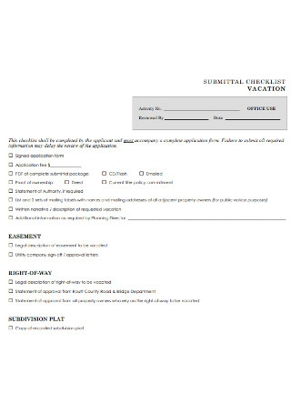 Submittal Checklist for Vacation