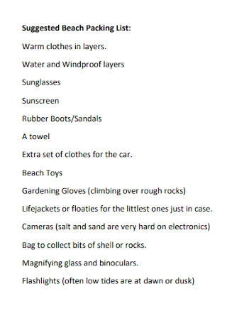 Suggested Beach Packing List
