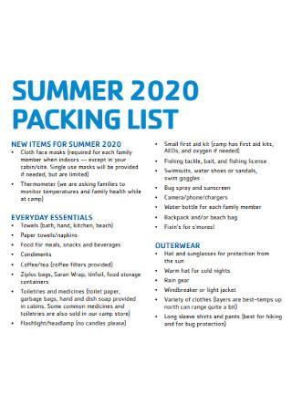 Summer Beach Packing List Template