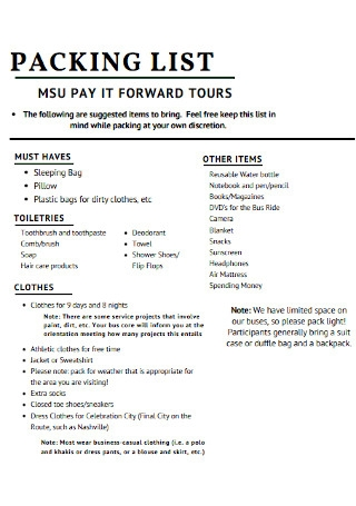 Tours Packing List Template