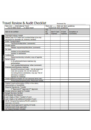 Travel Review and Audit Checklist