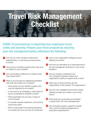 Travel Risk Management Checklist