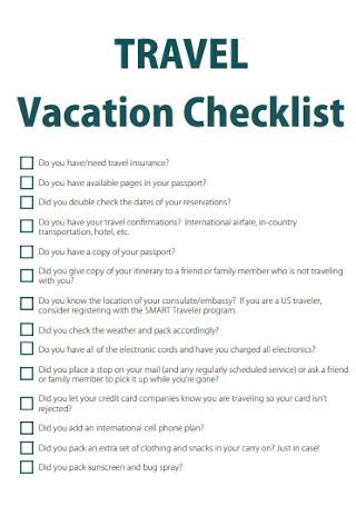 Travel Vacation Checklist