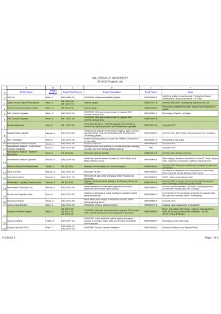 University Project List Template