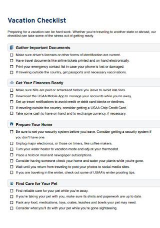 Vacation Checklist Format