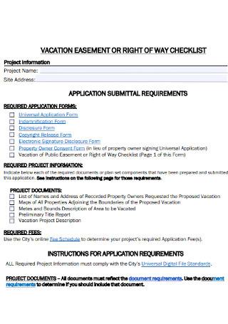 Vacation Easement Checklist
