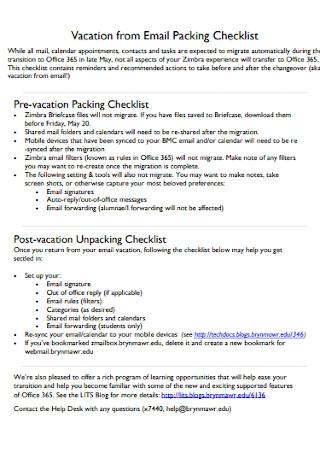 Vacation Email Packing Checklist