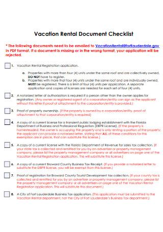 Vacation Rental Document Checklist