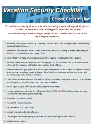 Vacation Security Checklist