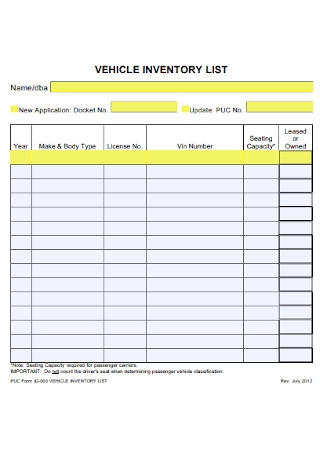 Vehicle Inventory List Template