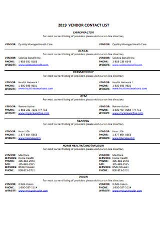 Vendor Contact List Example