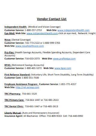 Vendor Contact List Format