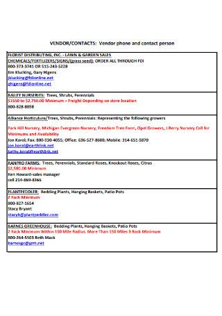 Vendor Phone Contact List