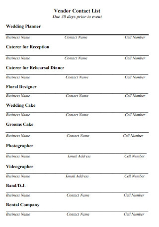 Vendor Planner Contact List