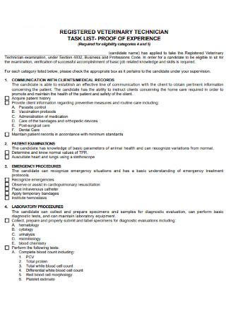 Veternary Technician Task List
