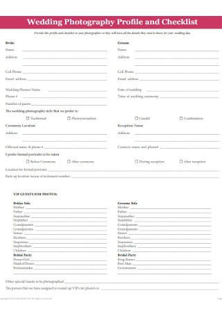 Wedding Photography Profile and Checklist