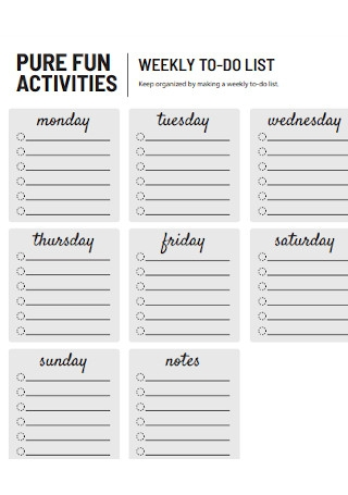 Weekly Activities To Do List